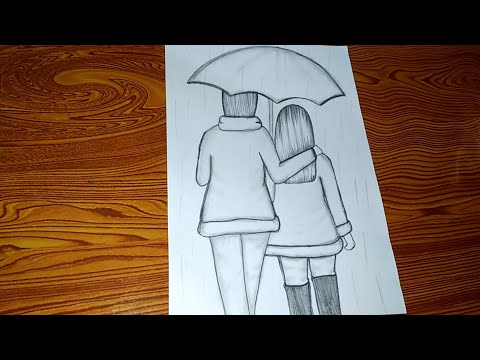 Easy Pencil Sketch Of A Cute Couple Youtube