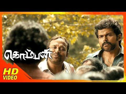 Komban Tamil Movie | Scenes | Karthi Tries To Resolve The Panchayath Issue | Thambi Ramaiah