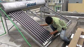Lắp đặt máy nước nóng năng lượng mặt trời Megasun KSS 300lit