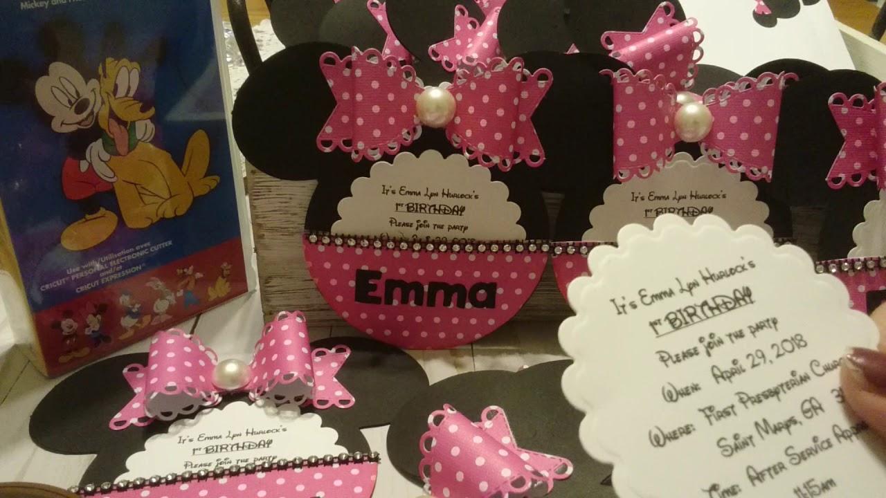 cricut minnie mouse 1st birthday invitations