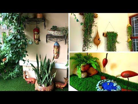 Garden/porch tour  Balcony organization ideas  Backyard Gardening