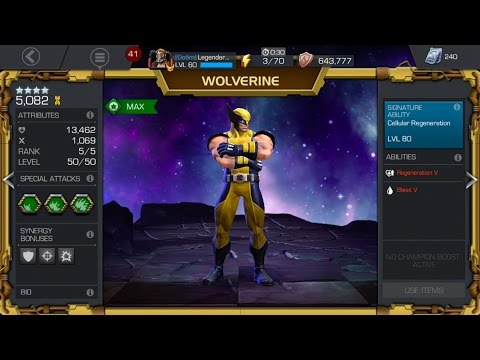 Maxing out Four Star Wolverine! Rank up to 5/50! Marvel Contest of Champions