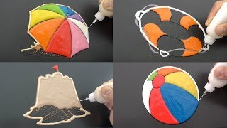 Beach Items Pancake Art - Beach Umbrella, Beach Ball, Lifebuoy, Sand Castle