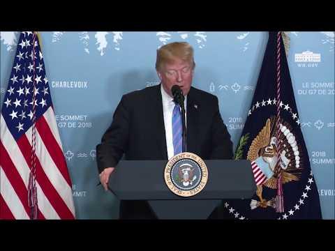 D Trump Conférence de presse du @G7 à Charlevoix, Canada, avant de partir pour Singapour #G72018