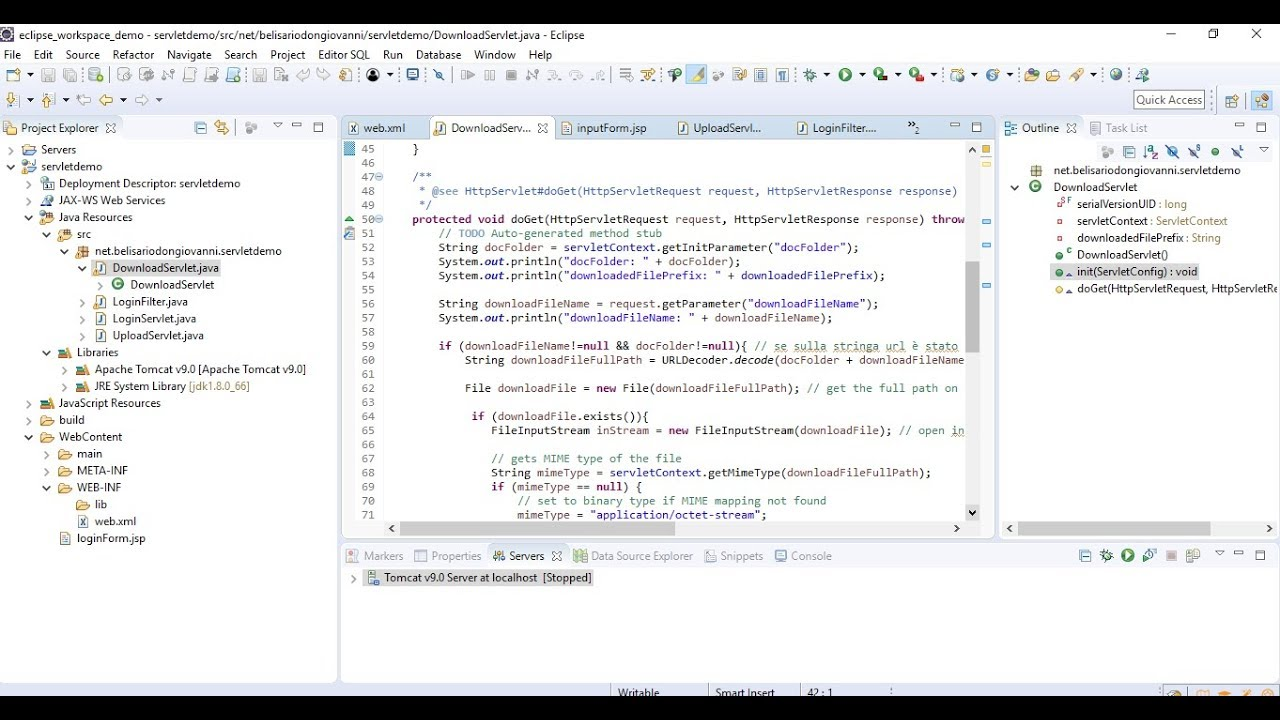 PART I - Java Servlet download and upload sample project