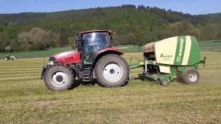 1 Schnitt 2020 Rundballenpressen mit Case Maxxum 110 und Krone Fortima F 1250 MC