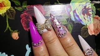 Mi nuevo set de uñas acrílicas morado punta stiletto con tip