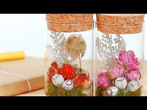 DIY Easy Flower Bottles using $1 Corks *100均DIY100円コルク瓶でフラワーボトル
