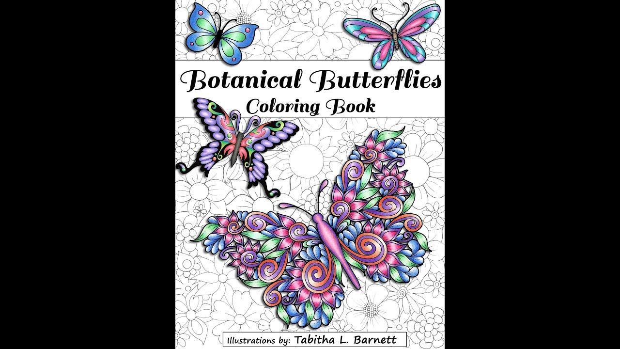 Botanical art coloring book - Botanical Butterflies Coloring Book A Look Inside