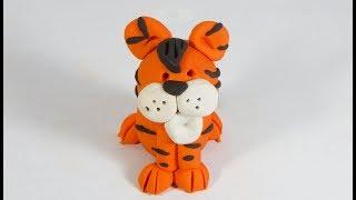 Cómo hacer un tigre en plastilina fácil paso a paso, explicado, arcilla polimérica. porcelanicron