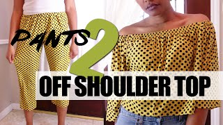 Turn Pants to Off Shoulder Top | Easy Sewing Tutorial | BlueprintDIY Thrift Refashion