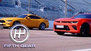 Ford Mustang V8 GT VS Chevrolet Camaro V8 - The Drag Race! | Fifth Gear