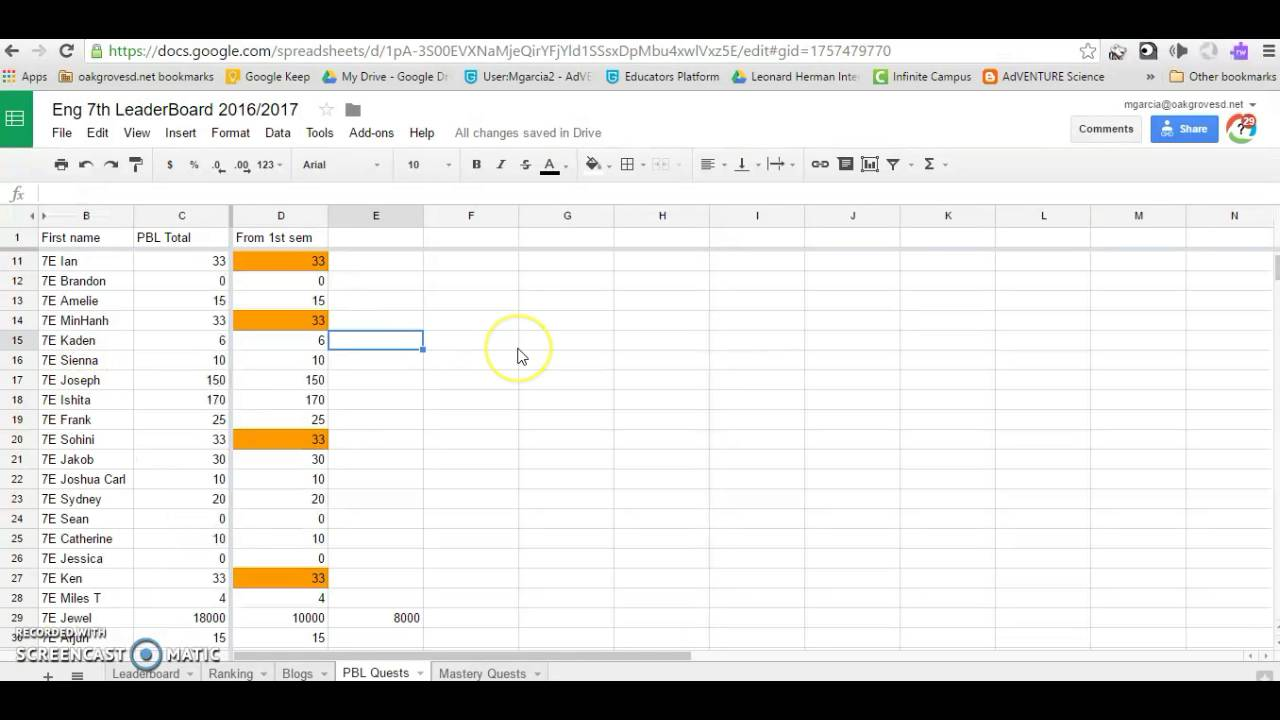 Leaderboard with Google spreadsheets: Adding self-ranking charts