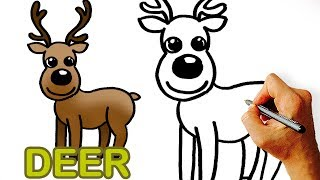 Very Easy! How to Draw Cute Cartoon Deer. Art for Kids.