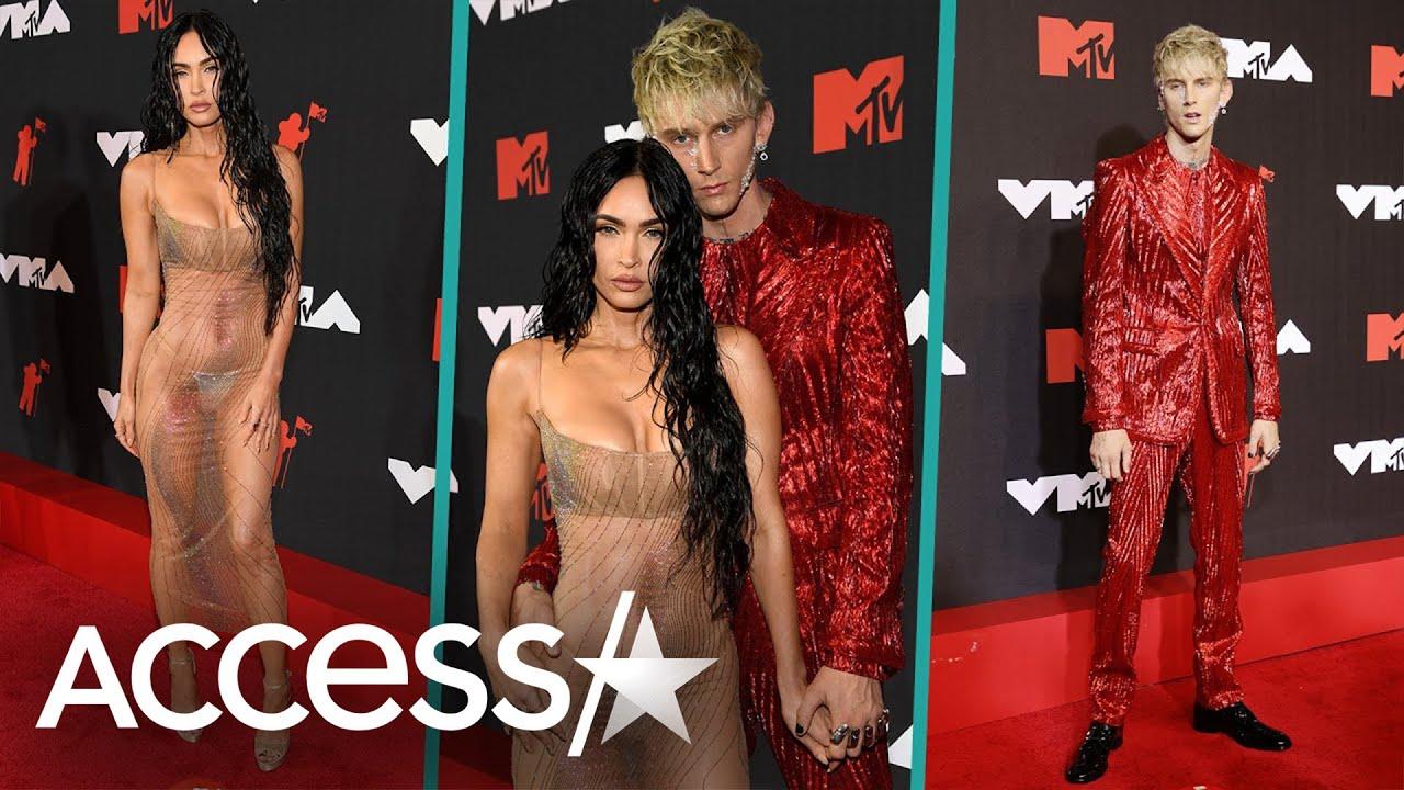 Megan Fox hits MTV VMAs 2021 red carpet in naked see-through ...