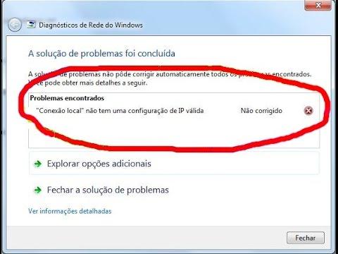 """Erro ao conectar-se a internet no windows 10, """"não tem uma configuração de IP válida""""."""