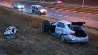 Çorlu'da meydana gelen kazada polis memuru ölümden döndü.