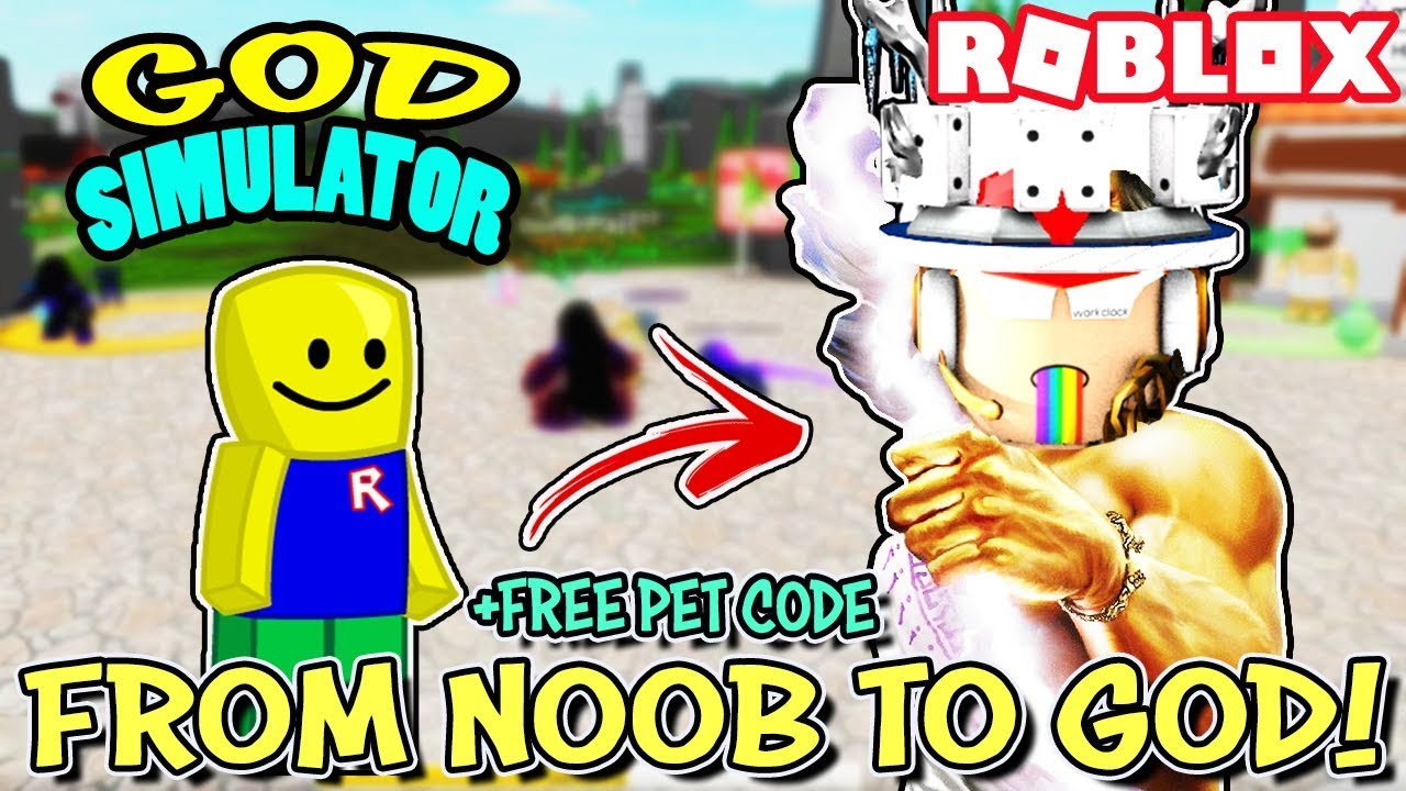 NOOB BECOMES A GOD AND *FREE PET CODE* IN GOD SIMULATOR (Roblox)