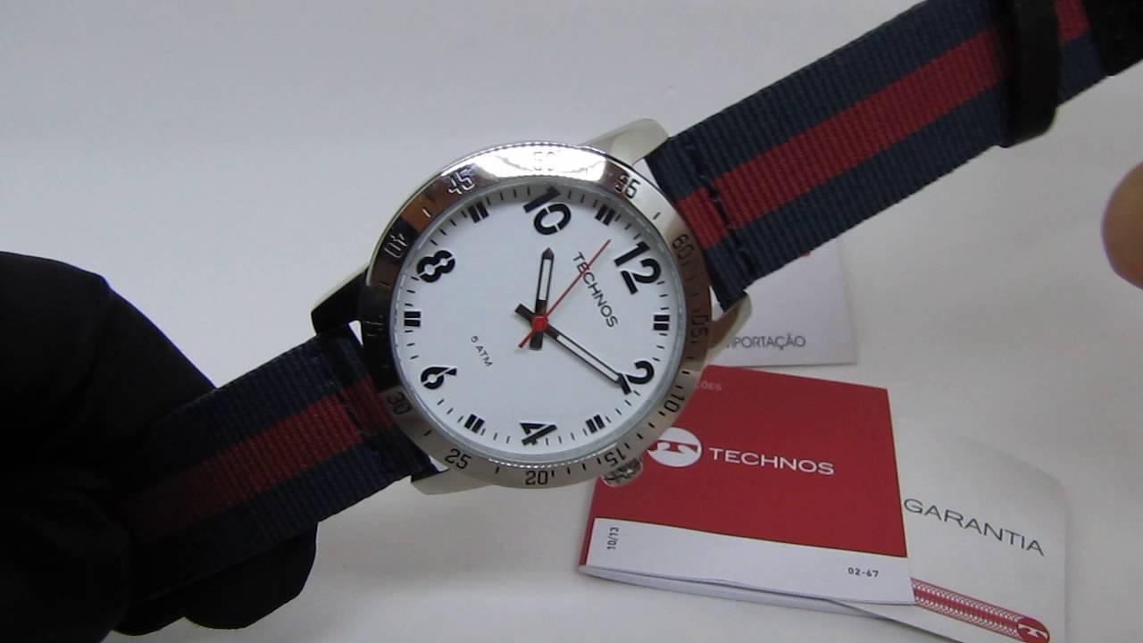 3632103e76611 Relógio Technos Masculino Pulseira Listrada de Nylon e Couro 2036LOZ08