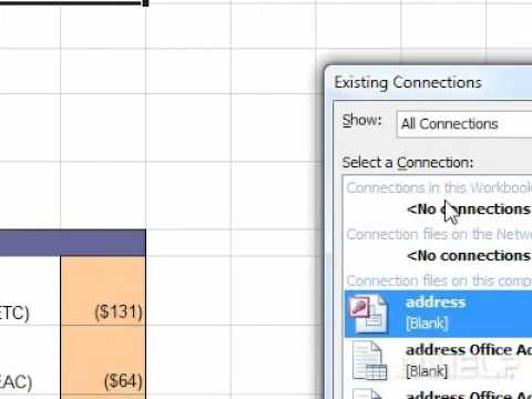 excel data connection to another worksheet link cells