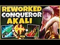 CONQUEROR REWORK AKALI IS 100% AMAZING!  INSANE TRUE DAMAGE + HEALING! - League of Legends