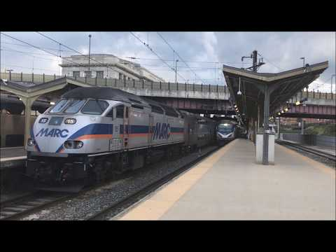 Amtrak And MARC Action At Baltimore Penn Station