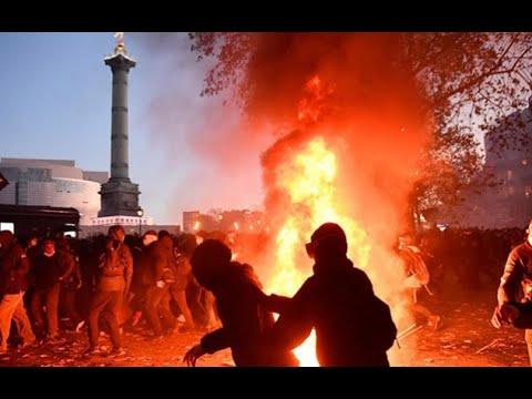Download Maşınlara, binalara OD VURULDU, POLİSLƏ ETİRAZÇILAR ARASINDA TOQQUŞMA: Parisdə kütləvi ETİRAZ