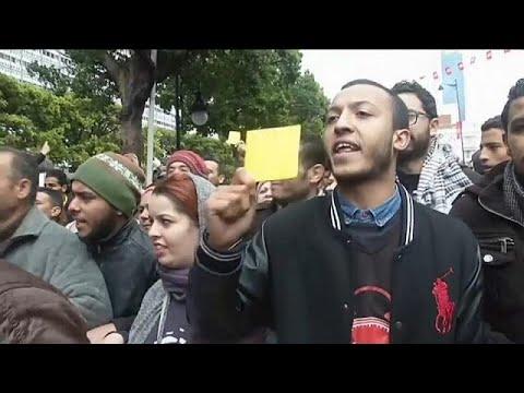 Anti-austerity protests in Tunisia's capital