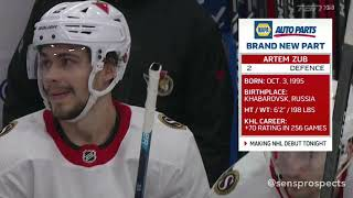 Artem Zub (#2) 1st NHL Game Highlights