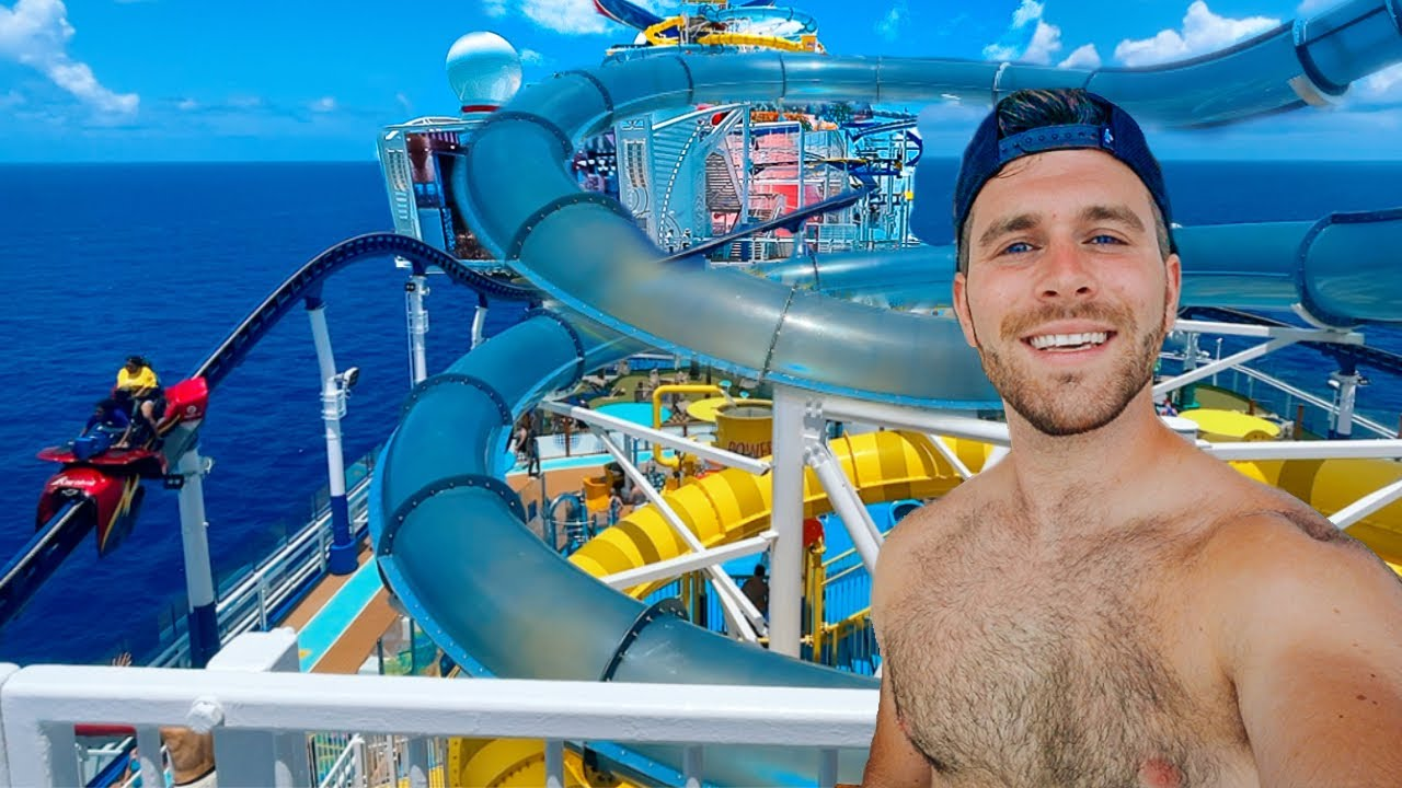 A Day At Sea On The Carnival Mardi Gras 2021   Going To The WATERPARK   Eating And Drinking Day!
