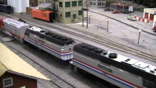 Amtrak with FP45 helper at Elmhurst Model Railroad Club