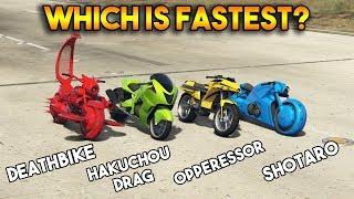 GTA 5 ONLINE : OPPRESSOR VS  HAKUCHOU DRAG VS SHOTARO VS DEATHBIKE (WHICH IS FASTEST?)