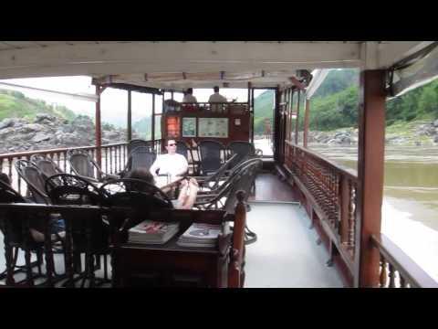 Cruising the Mekong river from Huay Xai to Luang Prabang Laos HD