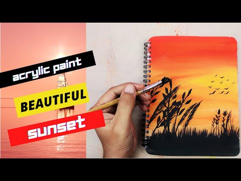 Easy Birds Sunset Acrylic Paint Ideas For Beginner | Birds Sunset Painting | Daily challenge #14