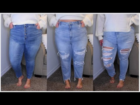 I TRIED ALL STYLES OF AMERICAN EAGLE CURVY JEANS | Taren Denise