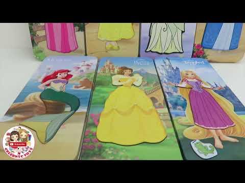 Disney Princess Magnetic fun Paper Dolls Mini Tin Ariel Rapunzel Belle Cinderella  Dresses Toy