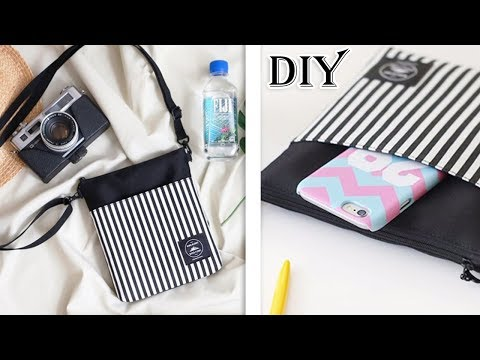 CUTE DIY CROSSBODY BAG FAST MAKING // Small Messenger Bag Stripe Design Purse Tutorial
