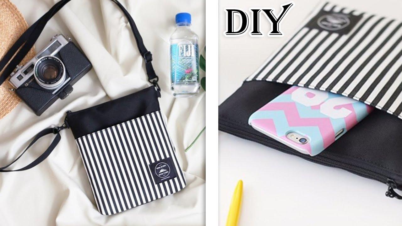 3ac68e7d92878a CUTE DIY CROSSBODY BAG FAST MAKING // Small Messenger Bag Stripe Design  Purse Tutorial