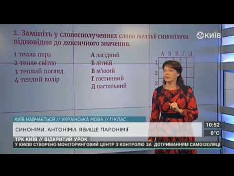 11 клас. Українська мова. Синоніми, антоніми, явище паронімії.