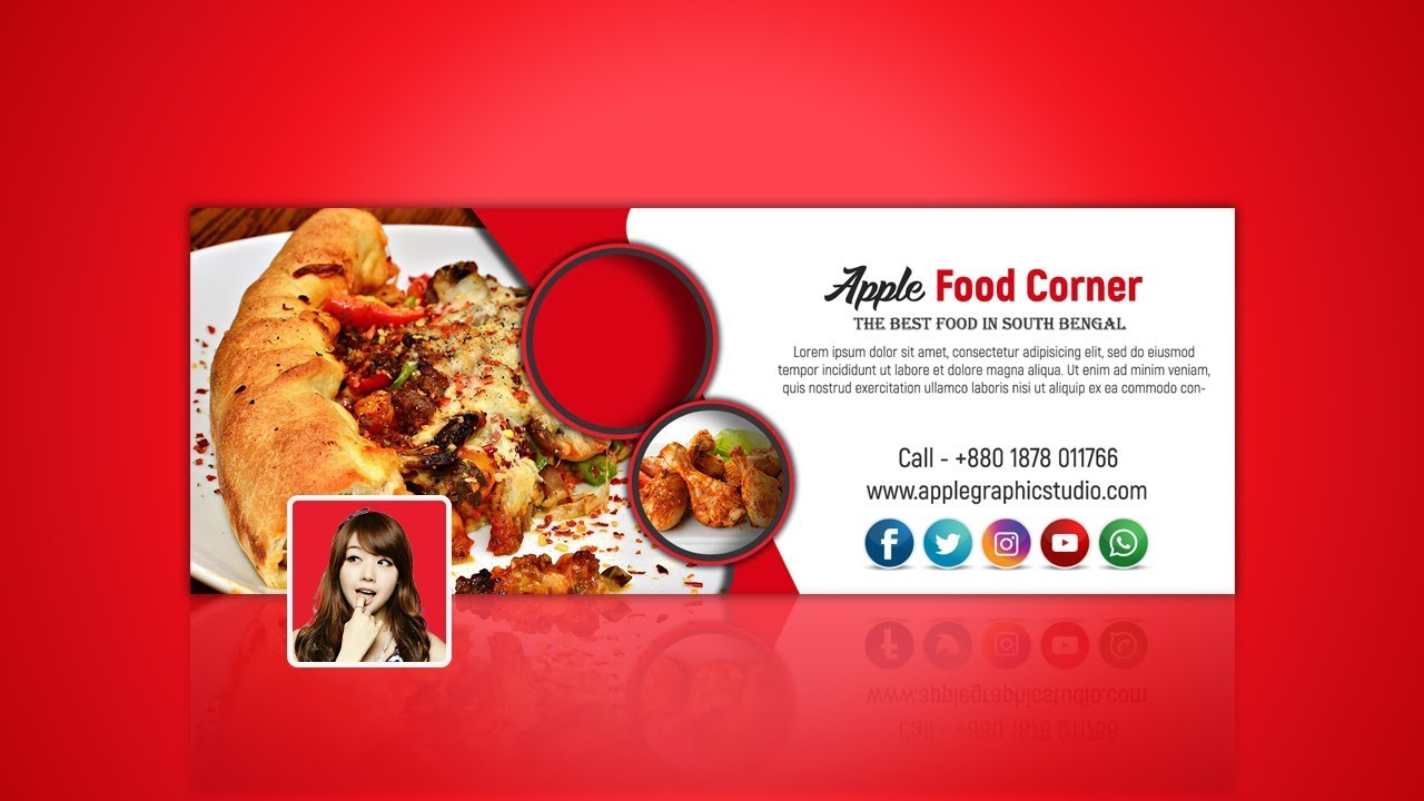 Restaurant facebook cover photo design photoshop