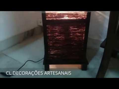 Abajur Luminária Artesanal De Chão Marrom E Beje