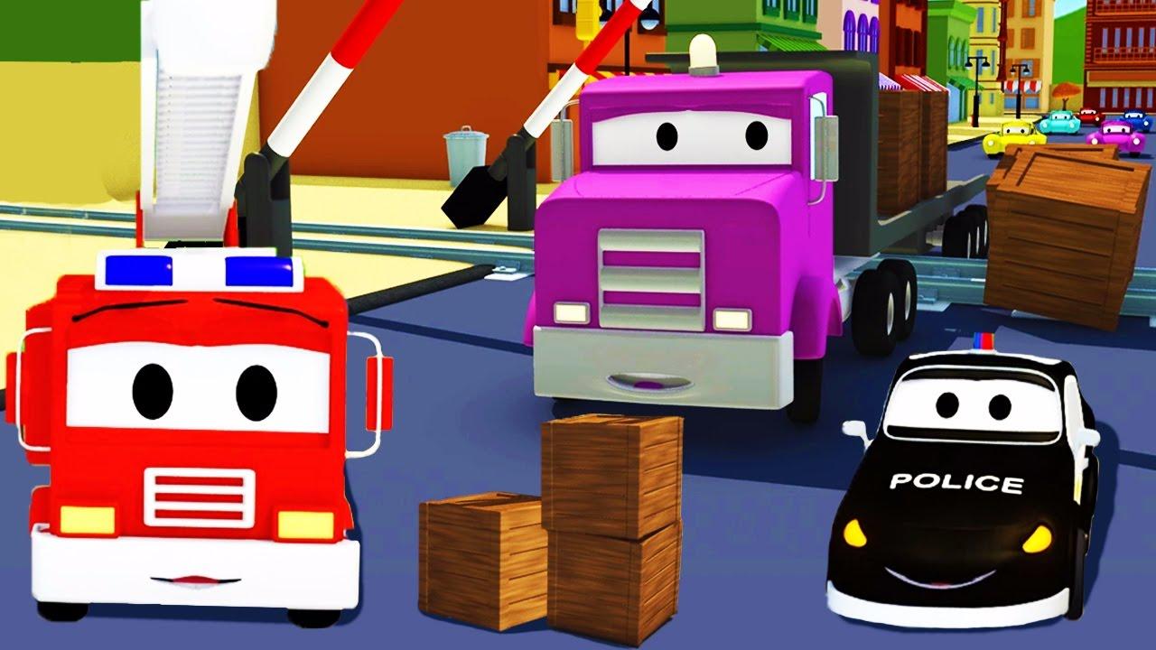 Der Streifenwagen Bahnlinien Unfall In Car City Autos Und Lastwagen Bau Cartoon Serie Für Kinder