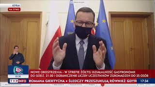 Premier Morawiecki: Ogłaszamy nowe obostrzenia w strefach żółtej i czerwonej