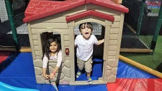 Indoor Playground for Kids Play Time with playhouse and slides family fun video