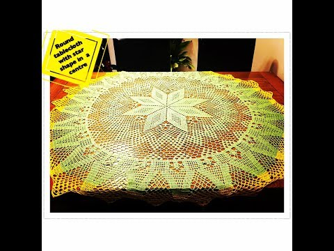How to crochet round tablecloth with star shape in a centre Part 1 of 4