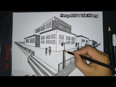 Cara Menggambar Gedung Dengan Perspektif 2 Titik Hilang Youtube