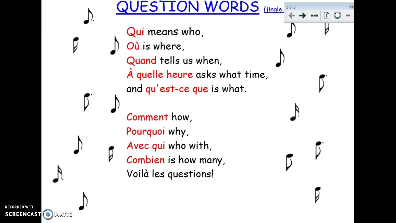 French Question Word Song F1A2 2017 - YouTube