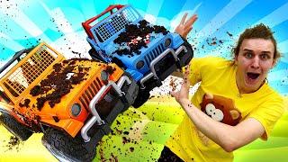 Видео для детей— Веселая Школа устроила гонки машинок ВНЕДОРОЖНИКОВ! —Мультики для малышей