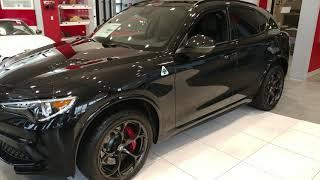 2018 VOLCANO BLACK METALLIC ALFA ROMEO STELVIO QUADRIFOGLIO SUV 505 HP