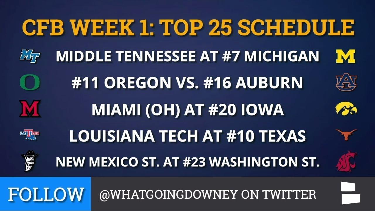 College football Top 25 TV schedule for Week 1